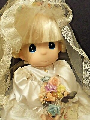 "27"" Big Eyes Precious Moments Doll RARE Giant Size VTG Bride Lacy Wedding Gown"