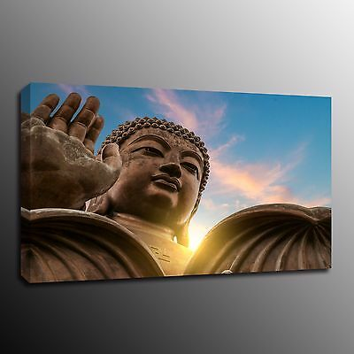Home Decor Canvas Print Painting Wall Art Stone Buddha Statue Picture No Frame