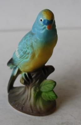 Parakeet Figurine on Tree Branch Ceramic-Porcelain Hand Painted Made in Japan