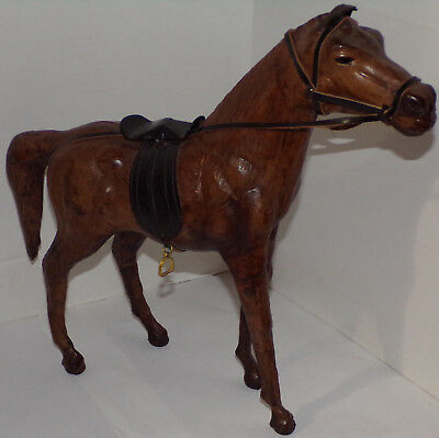 "Vintage Leather Horse w/ Saddle bridle Equestrian Art Figure 13"" tall 14"" long"