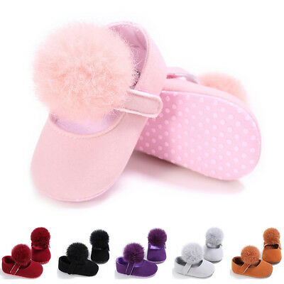 0-18M Newborn Girl Baby Crib Shoes Pompom Ball Sneakers Soft Sole Prewalker Gift