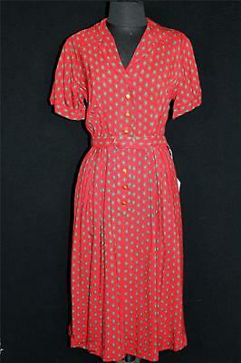 Very Rare Vintage Deadstock 1950's Red Paisley Silky Rayon Gabardine Dress 6- 8