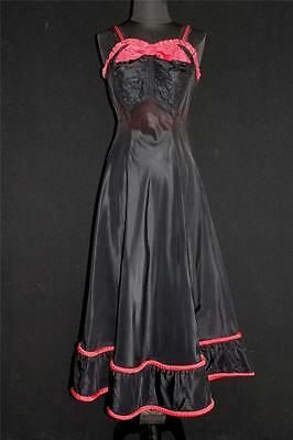 Rare Vintage 1950's Black Rayon Taffeta Party Dress & Red Rolled Trim Size 6