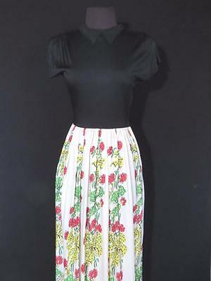 Rare Long Vintage Deadstock Never Worn 1940's Silky Rayon Print Dress Size 6