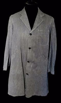 Very Rare Vintage 1940's-1950's French Dark Grey Cotton Work Coat Size Large