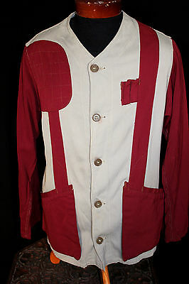 Vintage 1940's-1950's Grey & Dark Red Rayon Gabardine Hunting Jacket Size 42