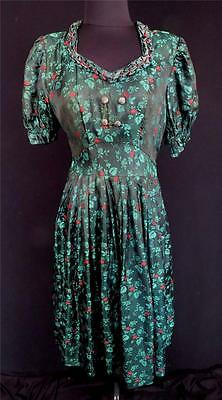 Very Rare Vintage 1950's French-Ethnic Green & Red Rayon Brocade Dress Size 8+