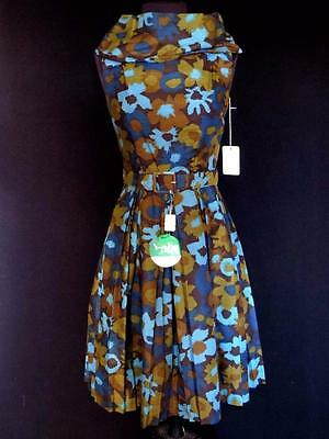 Rare Vintage Deadstock Never Worn 1960's Dark Muted Floral Print Dress Size 4