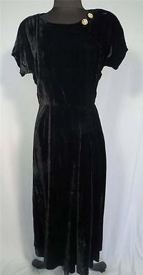 Rare Vintage 1950's Black Rayon Velvet Dress With Rhinestone Pins Size 8-10