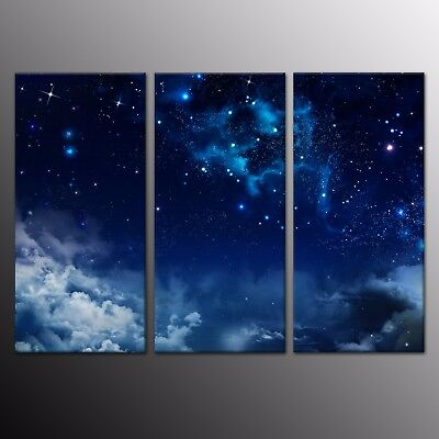 HD Wall Art Star Night Picture Landscape Painting Canvas Print Home Decor 3pcs