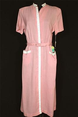 "Rare Vintage ""deadstock"" Classic 1950's Pink Rayon Gabardine Dress Size 10"
