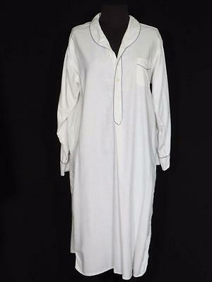 Very Rare Vintage 1940's-50's Long French White Cotton Night Shirt Size Large