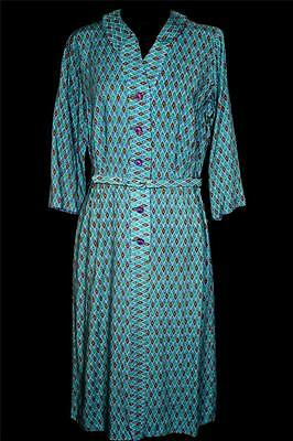 Rare Vintage Deadstock 1950's-1960's Blue Print Rayon Gabardine Dress Size 8+