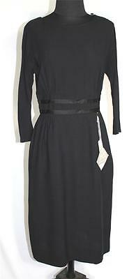 Rare Vintage Deadstock New 1960's Black Rayon Crepe Cocktail Dress Size 6-8
