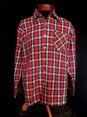 Rare Vintage 1960's French Vivid Red And Black Plaid Cotton Shirt Size Large