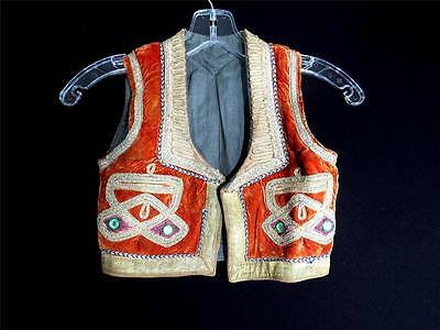Very Rare Boys Vintage 1950's Turkish Velvet Metallic Trimmed Vest Size 4-5