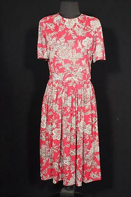 Rare Vintage 1950's Red Floral Silky Nylon Day Dress Size 8