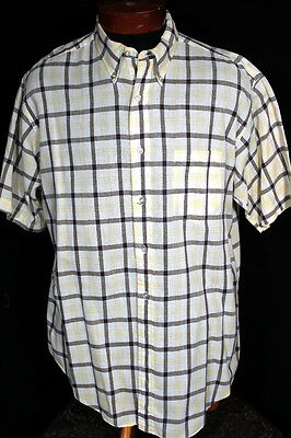 Vintage 1950's Brown, Yellow And White Plaid Cotton Shirt Size Large-Extra Large