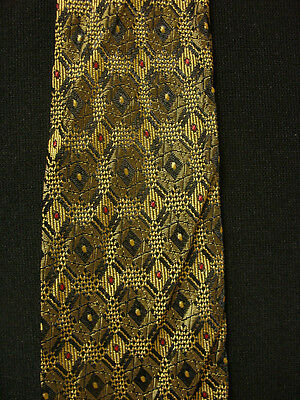 Vintage 1950's-1960's Wide Tie With Embroidered Olive & Black Patterns