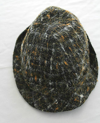 Very Rare French Deadstock 1940's Boy's Hat Wool Plaid Size 10-12 Years