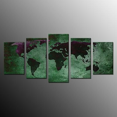 World Map Vintage Abstract Canvas Wall Art Picture Print Home Decor No Frame 5pc