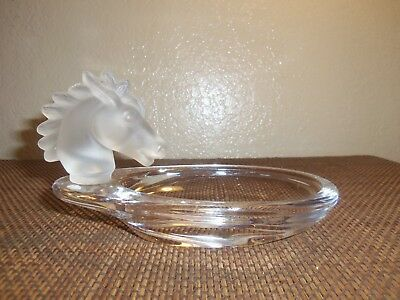 Vintage French Art Deco Horse Head Glass Tray Vannes Crystal