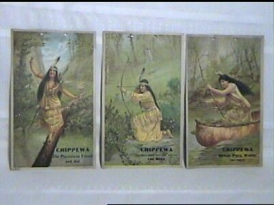 3 Antique Hayes Lithograph Prints Indian Squaw 1905 Chippewa Water Advertisement