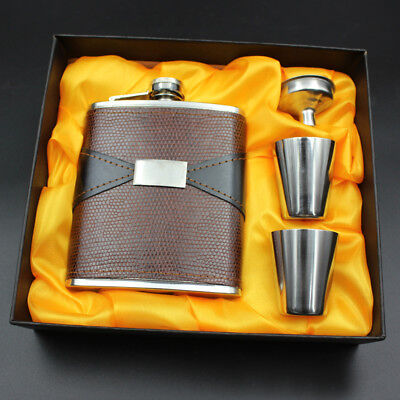 New 7oz Stainless Steel Hip Flask Liquor Whiskey Drink +Cups Funnel Box Set Gift
