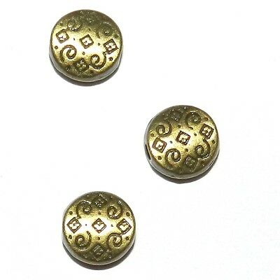 MB930 Antiqued Bronze 7mm Patterned Flat Round Coin Metal Spacer Beads 25pc