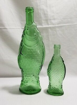 "TWO Vintage GREEN FISH Wine Bottle 13"" & 8"" Glass Wine Bottle VEA Decor Feng Sh"