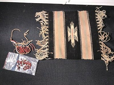 "A469- ANTIQUE RUG & Necklace Native American Indian Weaving Blanket 10"" x 10"""