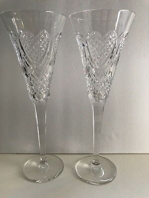 Waterford Crystal Wedding Heirloom Love Heart Champagne Toasting Flutes Set of 2