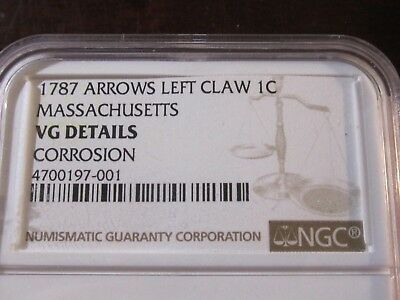 1787 Arrows Left Claw Colonial 1 Cent. Massachusetts. NGC Very Good Details.