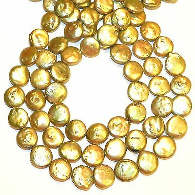 MB73 10 x Decorative Flat Round Coin Spacer Beads 12mm Antique Gold LF
