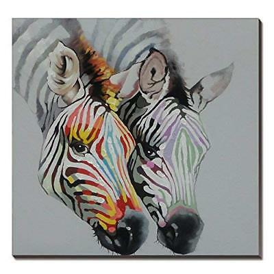 3Hdeko-Zebra Oil Painting on Canvas 30x30inch Gray Animal Artwork Home Dec..
