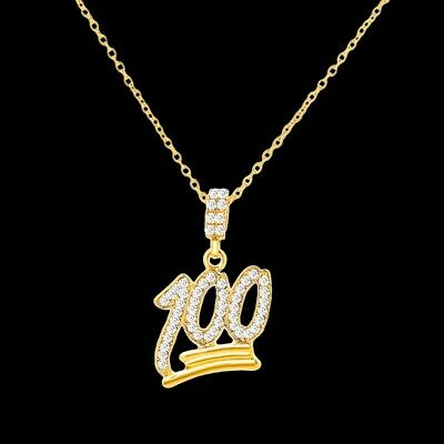 Mens Gold Plated Emoji 100 Pendant Hip-Hop Rope Link Chain Necklace 24''