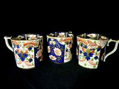 THREE Antique 1800's Crown Derby Imari Porcelain England Porcelain Cups
