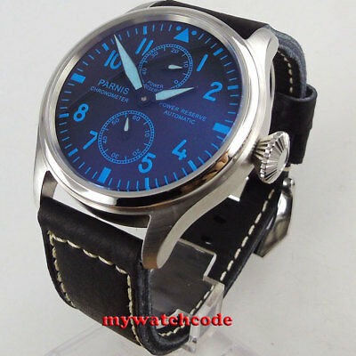 47mm PARNIS black dial blue mark power reserve sea-gull automatic mens watch 196