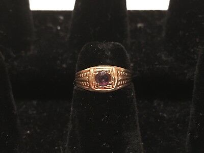 Vintage Antique 1930s Art Deco 10k Yellow Gold Amethyst Cocktail Ring Size 3.25