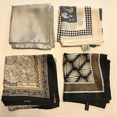 4 Scarves Square ALL 100% SILK Silver Gold Black Hand Rolled Vtg Scarf Lot