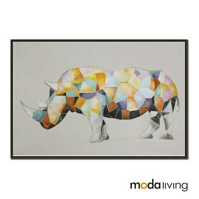 New Hand Painted Modern Abstract Oil Painting Canvas Wall Art Framed Rhinoceros
