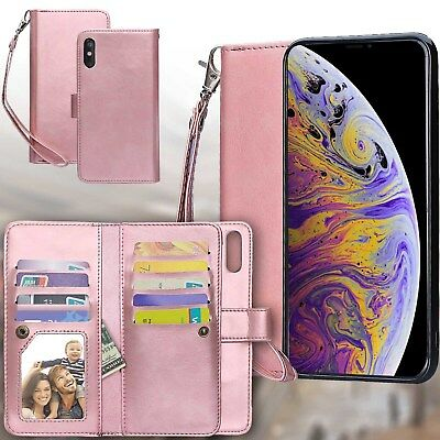 Fr iPhone 7 8Plus XR XS Max Leather Wallet Magnetic Flip Case Cover 9 Card Slots