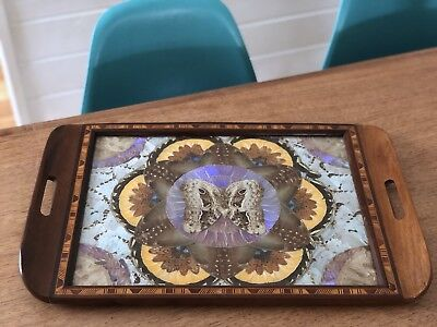 Vintage Art Deco Butterfly Wing & Wood Inlay Inlaid Tea Tray Brazil