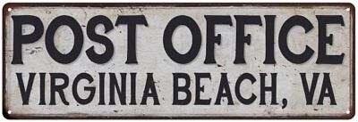 Virginia Beach, Va Post Office Personalized Metal Sign Vintage 106180011032
