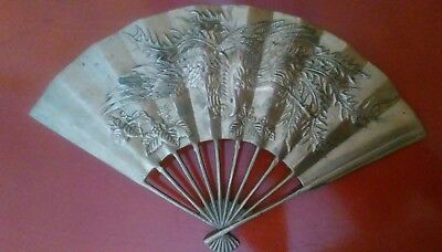 Vintage Chinese Dragon Brass Fan, Wall or Table Decoration, Collectible