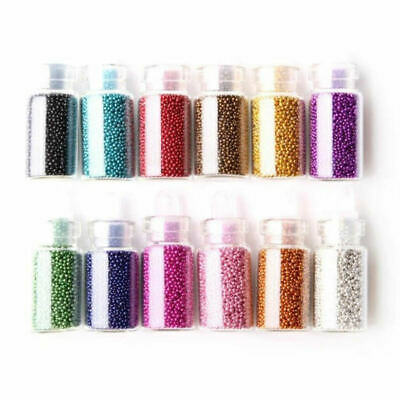 12 Colors Mini Glitter Caviar Micro Beads Tips 3D Nail Art Acrylic UV Gel Set