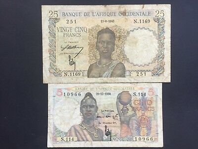 French West Africa 5 and 25 Francs issued 1950 and 1943 Fine