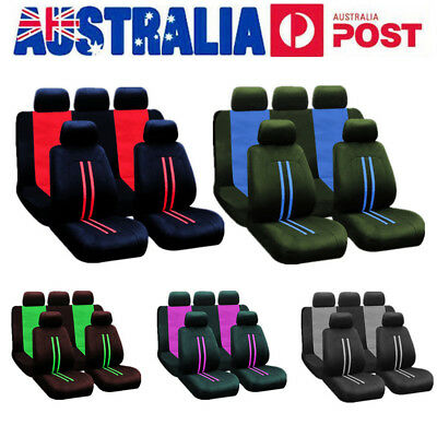 9Pcs Universal Car Seat Covers Full Set Front Rear Seat Head Rest Protector AU