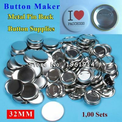 """Professional Steel Badge Button Maker Pin Back Metal Supply Materials 1-1/4"""" 32m"""