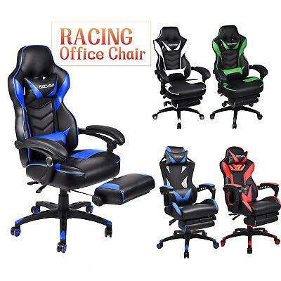Office Gaming Chair Racing Leather Sport Computer Desk Seat Recliner Footrest UK